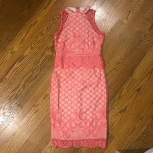 Dresses & Skirts - Coral and lace pencil dress